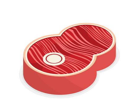 Flat design fresh raw beef steak vector