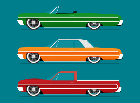 Flat vector lowrider car icon