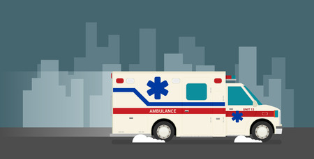 Flat ambulance car vector illustration  Ilustrace