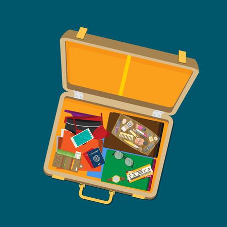 Packed suitcase for summer holiday - vector illustration Ilustração