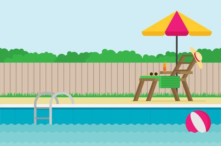 Fond de vecteur plat piscine Vecteurs