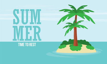 A tropical sea island with palm trees and sun. Flat design vector illustration. Stock Illustratie