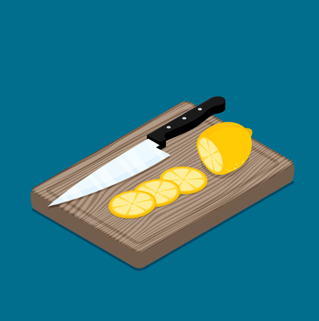 Lemon slices on kitchen cutting board and kitchen knife.