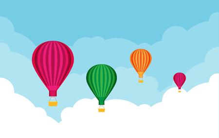 Globos aerostáticos. Tema de turismo y vacaciones. Ilustración de vector de diseño plano. Ilustración de vector