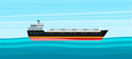 Vector illustration. Gas tanker flat design