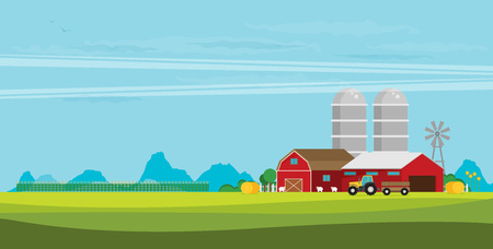 Farm flat Landscape. Natural background, organic farm products.
