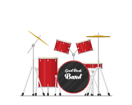 color flat style vector drum set on white background bass tom-tom ride cymbal crash hi-hat snare stands Stock Illustratie