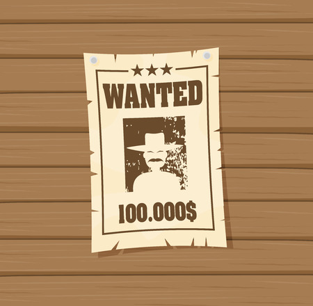 Vintage wanted poster flat vector
