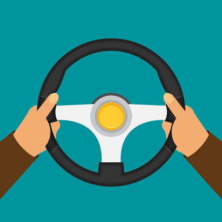 Hands holding steering wheel, vector illustration in flat style. Ilustração