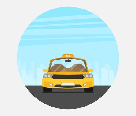 Taxi graphic design in flat style Standard-Bild - 109645423