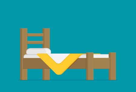 Wooden bed for one person with a pillow and a blanket in a flat style. vector illustratio Illustration