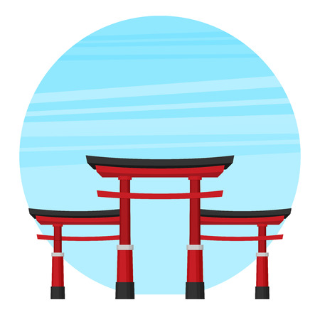 Japanese torii gate, national symbol, traditional structure, flat vector illustration. Flat style Japanese torii gate, national symbol, icon  イラスト・ベクター素材