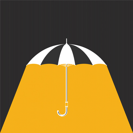 Flat umbrella with rain. Vector background