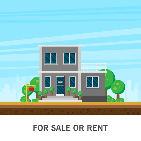 Home for rent or sale flat vector Stockfoto - 109645438