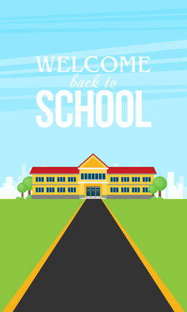 flat illustration of school building for back to school