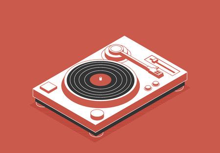 DJ deck. Isometric flat vinyl player