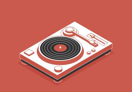 DJ deck. Isometric flat vinyl player