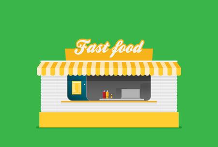 Stall sells fast food. Flat vector