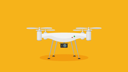 Remote aerial drone with a camera. Flat design.
