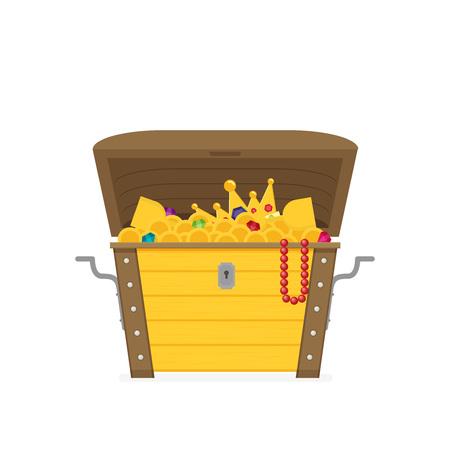 Flat open treasure chest isolated flat design Illustration