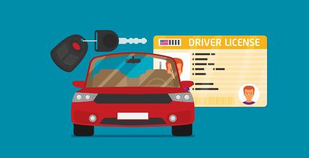 Identificación del carnet de conducir con foto, llaves y auto.