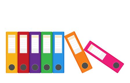 Ensemble de reliures à anneaux colorées isolées sur blanc. Illustration vectorielle dans un style plat