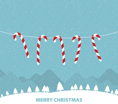 Hanging candy canes in snowy winter scene Illustration