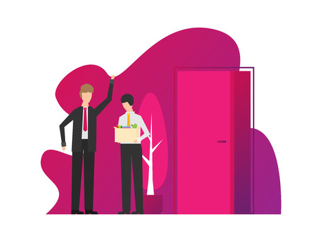 Angry boss dismisses employee. Fired sad man carrying box with his things. Flat vector illustration. 일러스트