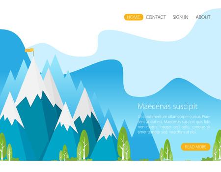 Vector flat flag on mountain. Success illustration. Goal achievement. Business concept. Illustration