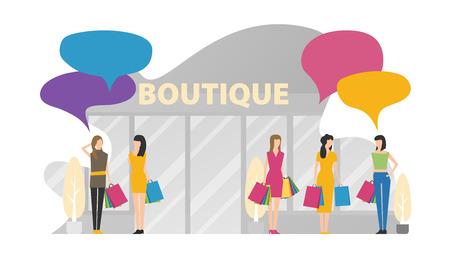 Flat fashion shopping girls illustration set
