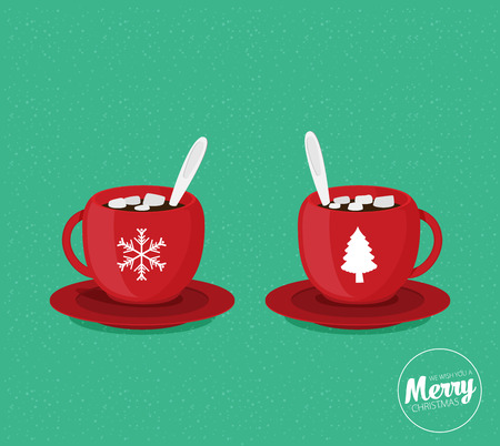 Red Christmas coffee mugs. Vector illustration