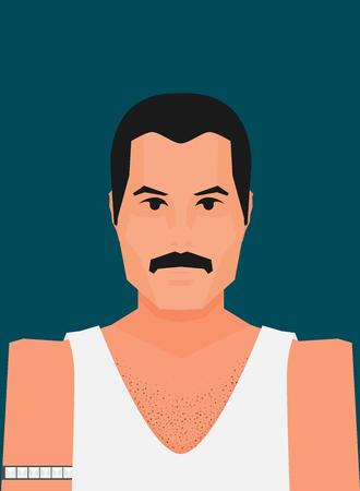 Wembley Stadium, July 12 1986 Flat vector famous rock musician Freddie Mercury