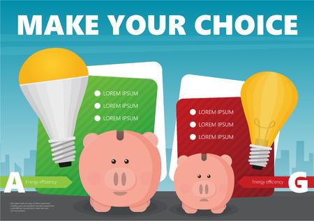 Sparschwein und LED-Glühbirne flache Vektor-Infografik