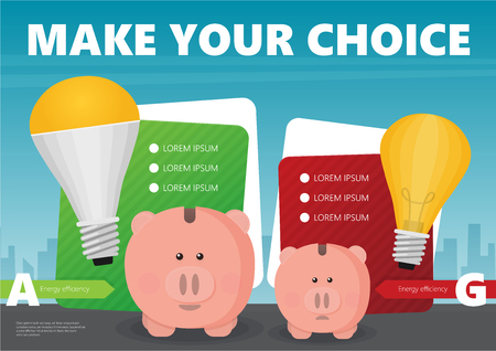 Piggy bank and LED light bulb flat vector infographic