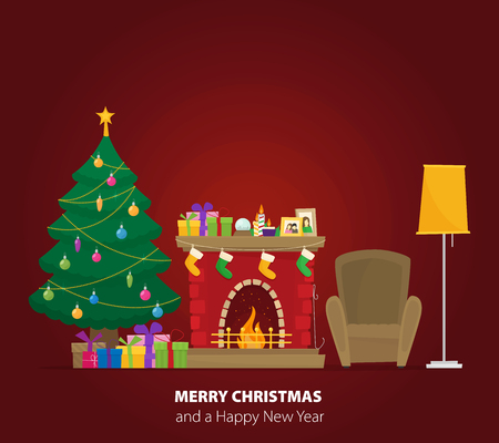 Christmas fireplace with gifts, socks and candles. Flat cartoon style vector illustration.