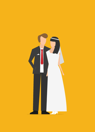 Wedding couple flat vector isolated on color background