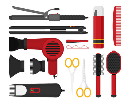Hairdresser beauty tools icon flat design style vector graphic illustration set