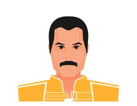Flacher Vektor berühmter Rockmusiker Freddie Mercury in gelber Jacke. Wembley-Stadion, 12. Juli 1986
