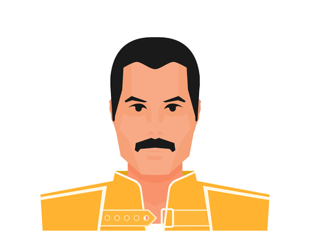 Flat vector famous rock musician Freddie Mercury in yellow jacket. Wembley Stadium, July 12 1986