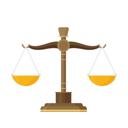 Bilancia icona dell'equilibrio. Design piatto. Vettoriali