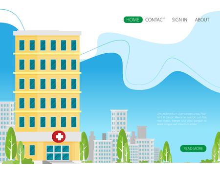 Vector de icono plano de edificio de hospital