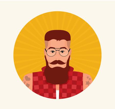 Flat cartoon hipster character, vector illustration Vektorové ilustrace