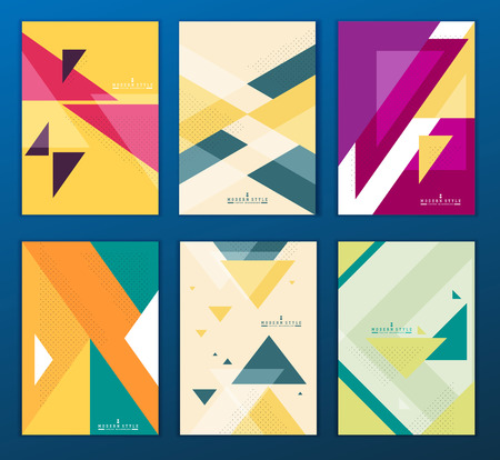 Flat geometric covers design. Colorful modernism. Simple shapes composition. Futuristic patterns