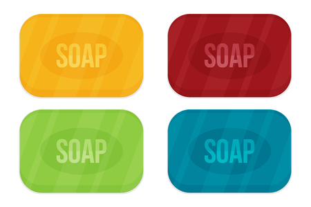 Vector cartoon flat style rectangular soap vector icon