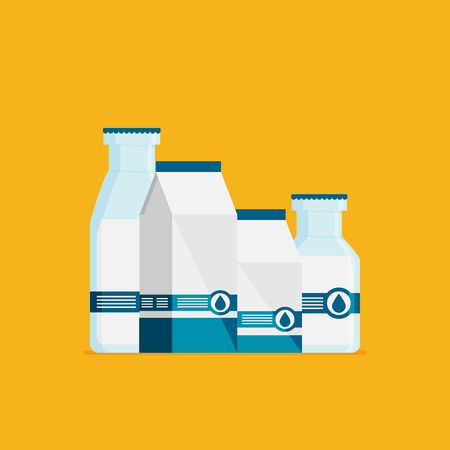 Flat vector milk icon set isolated on color background