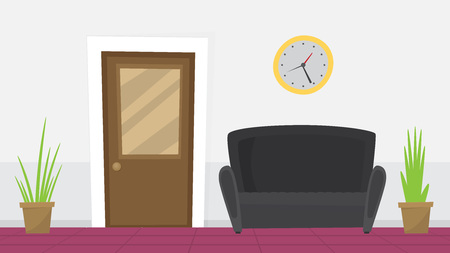 Waiting room for patients in the office. Flat vector.