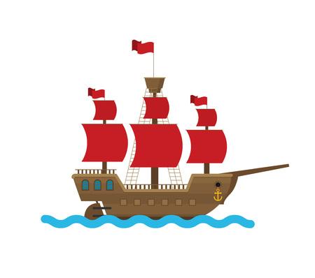 Navire de vecteur plat en mer