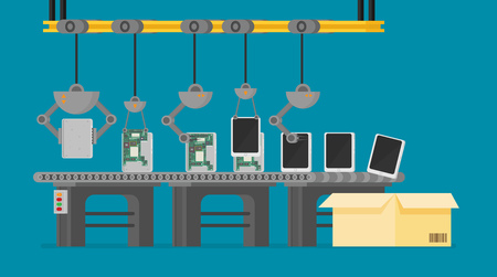 Automatic production conveyor. Robotic industry concept. Vector illustration. Illustration