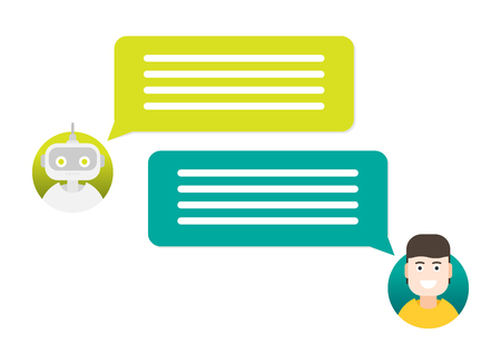 Dialog with bot. Vector flat modern style cartoon character illustration icon design.