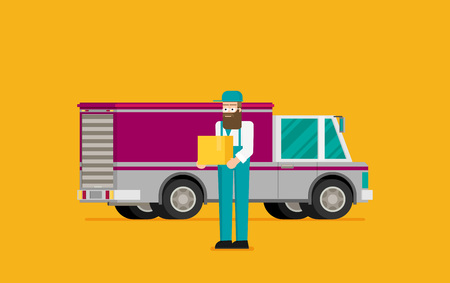 Man postal delivery courier man in front of cargo van delivering package. Standard-Bild - 124851264